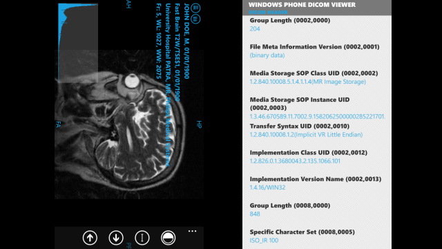 Windows Phone Dicom Viewer